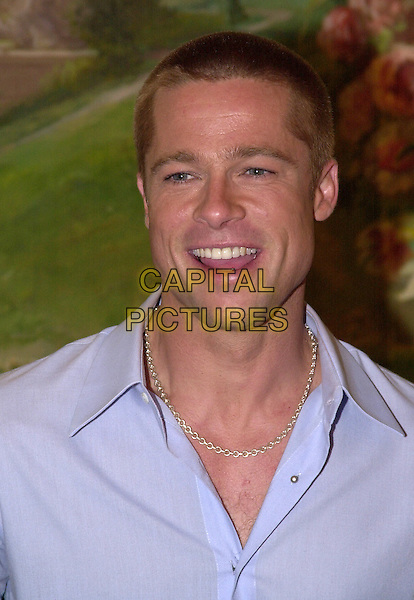 BRAD PITT.Los Angeles, 2004.headshot, portrait, smiling, laughing, necklace.www.capitalpictures.com.sales@capitalpictures.com.© Capital Pictures.