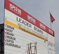 The leader board during the final round of the 2013 ISPS Handa Wales Open from the Celtic Manor Resort, Newport, Wales. Picture:  David Lloyd / www.golffile.ie