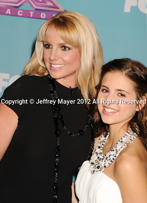 LOS ANGELES, CA - DECEMBER 19: Britney Spears and Carly Rose Sonenclar arrive at Fox's 'The X Factor' Season Finale Night 1 at CBS Televison City on December 19, 2012 in Los Angeles, California.