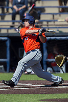 Illinois Fighting Illini catcher Mark Skonieczny (25) swings the bat against the Michigan Wolverines during the NCAA baseball game on April 8, 2017 at Ray Fisher Stadium in Ann Arbor, Michigan. Michigan defeated Illinois 7-0. (Andrew Woolley/Four Seam Images)