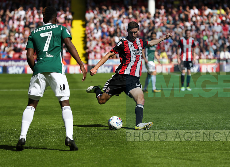 Chris Basham of Sheffield Utd during the English championship league match at Bramall Lane Stadium, Sheffield. Picture date 5th August 2017. Picture credit should read: Jamie Tyerman/Sportimage