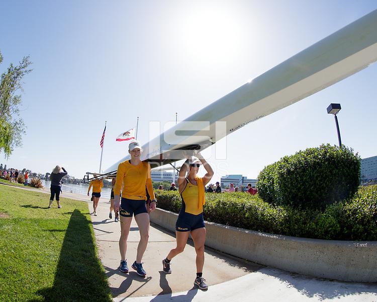 Redwood Shores, CA - April 2, 2017:  Cal Women's Crew competes in the 2017 Pac-12 Challenge.  Cal Women's Third Varsity 4+: Jules Qivstgaard (Coxswain), Danni Struck, Monica Murray, Katie Kelly, Bridget Kontinnen (Bow).