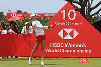 Nelly Korda (USA) in action on the 10th during Round 3 of the HSBC Womens Champions 2018 at Sentosa Golf Club on the Saturday 3rd March 2018.<br /> Picture:  Thos Caffrey / www.golffile.ie<br /> <br /> All photo usage must carry mandatory copyright credit (&copy; Golffile | Thos Caffrey)