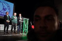 Varese: Roberto Maroni e Umberto Bossi durante la serata organizzata in un teatro di Varese per siglare la pace tra i due.