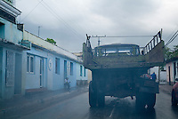 Smoking truck in the streets of Trinidad, Sancti Spiritus, Cuba.