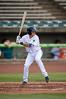 Lynchburg Hillcats center fielder Jodd Carter (7) at bat during the first game of a doubleheader against the Potomac Nationals on June 9, 2018 at Calvin Falwell Field in Lynchburg, Virginia.  Lynchburg defeated Potomac 5-3.  (Mike Janes/Four Seam Images)
