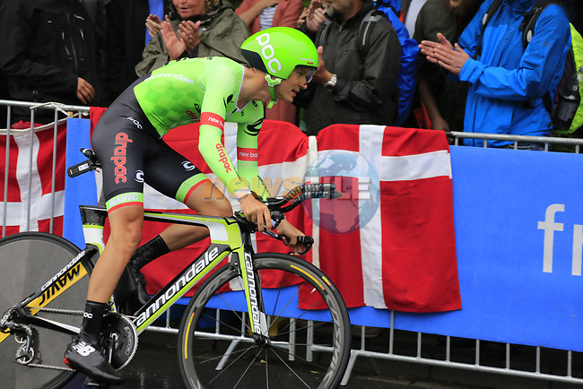 Nathan Brown (USA) Cannondale-Drapac in action during Stage 1, a 14km individual time trial around Dusseldorf, of the 104th edition of the Tour de France 2017, Dusseldorf, Germany. 1st July 2017.<br /> Picture: Eoin Clarke | Cyclefile<br /> <br /> <br /> All photos usage must carry mandatory copyright credit (&copy; Cyclefile | Eoin Clarke)