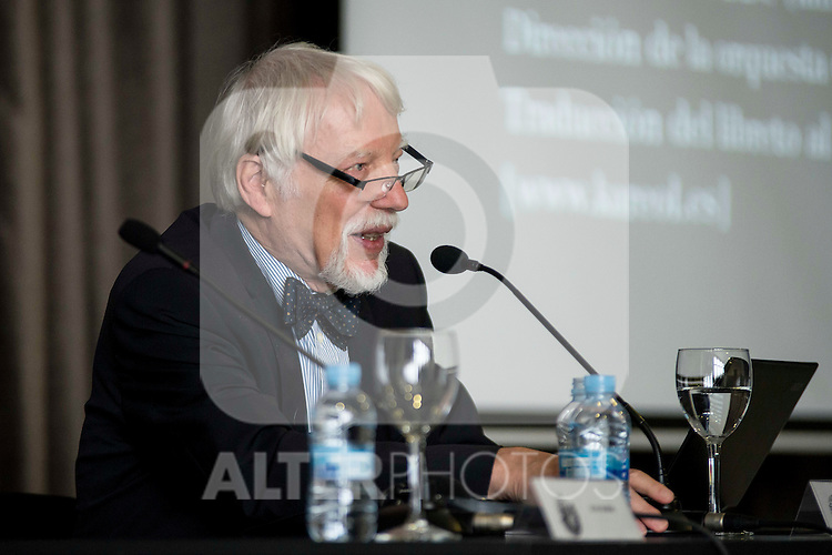 The german egyptologist Jan Assman during a conference at Circulo de Bellas Artes in Madrid. May 25, 2016. (ALTERPHOTOS/Borja B.Hojas)