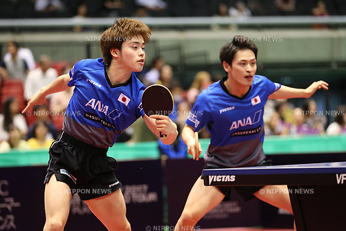 Masataka Morizono &amp; Yuya Oshima (JPN), <br /> JUNE 15, 2017 - Table Tennis : <br /> ITTF World Tour Japan Open 2017 <br /> Men's Doubles <br /> at Tokyo Metropolitan Gymnasium, Tokyo, Japan. <br /> (Photo by YUTAKA/AFLO)