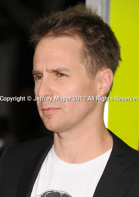 WESTWOOD, CA - OCTOBER 01: Sam Rockwell arrives at the Los Angeles premiere of 'Seven Psychopaths' at Mann Bruin Theatre on October 1, 2012 in Westwood, California.