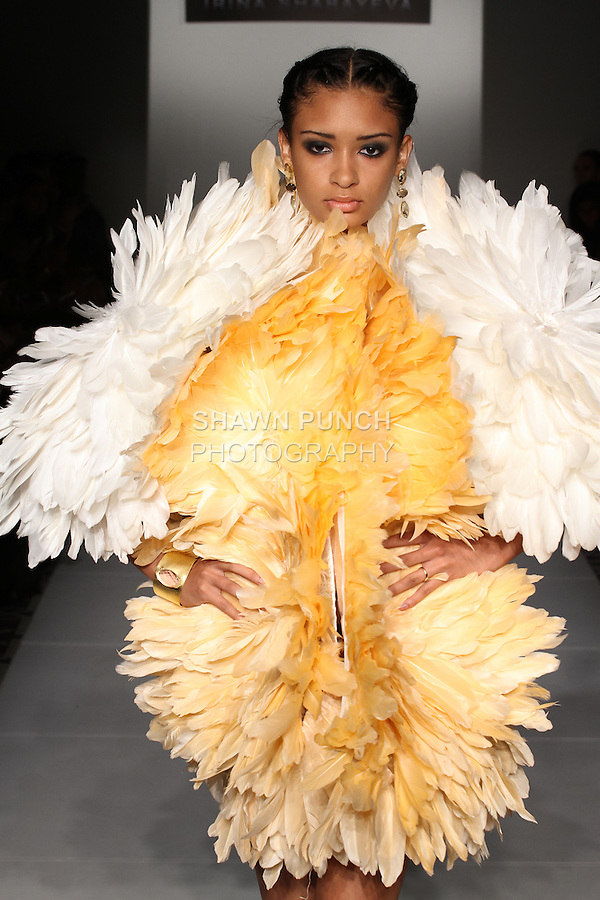 Model walks runway in an outfit from the Irina Shabayeva Spring Summer 2017 collection for Fashion Gallery New York Fashion Week on September 11, 2016; during New York Fashion Week Spring 2017.