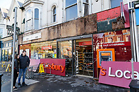 2018 02 13 Sainsbury's shop sign collapsed and injures woman in Swansea, Wales, UK