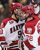 Danny Biega (Harvard - 9), Chris Huxley (Harvard - 28) - The Harvard University Crimson defeated the visiting Colgate University Raiders 6-2 (2 EN) on Friday, January 28, 2011, at Bright Hockey Center in Cambridge, Massachusetts.