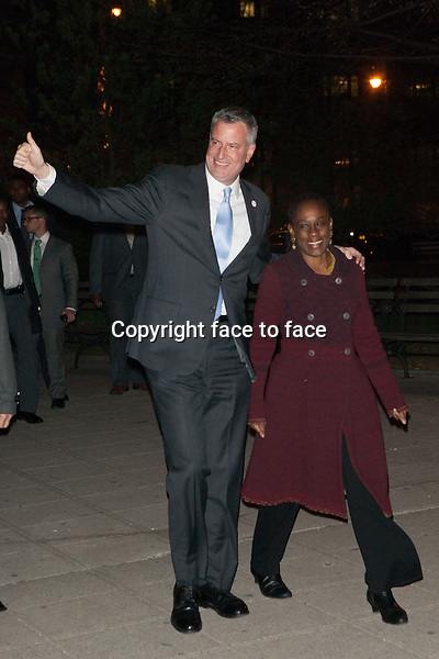 NEW YORK, NY - APRIL 23: Bill de Blasio and Chirlane McCray attend the Vanity Fair Party during the 2014 Tribeca Film Festival on April 23, 2014 in New York City.<br />