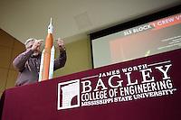 Engineering Week (E-Week) NASA Panel: MSU Engineering Alumni (all NASA engineers) discuss NASA's new Space Launch System (SLS) - 1984 Electrical Engineering graduate David K. Hall<br />  (photo by Megan Bean / &copy; Mississippi State University)