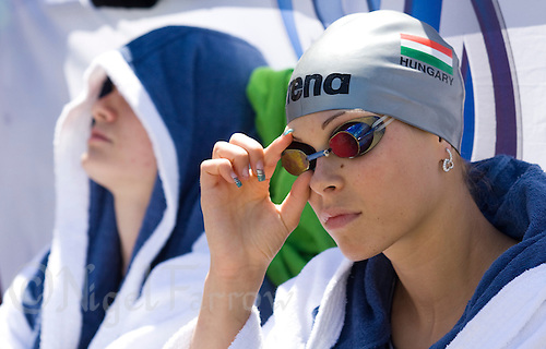 02 JUN 2008 - BUDAPEST, HUN - Leila Gyenesei (HUN) waits for the start of the swimming - Modern Pentathlon Team Relay World Championships. (PHOTO (C) NIGEL FARROW)