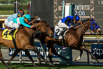ARCADIA, CA  DECEMBER  30: #2 Midnight Crossing, ridden by Brice Blanc, holds off a fast closing #4 Elysea's World, ridden by Javier Castellano, and #3 Laseen, ridden by Victor Espinoza, to win the Robert J. Frankel Stakes (Grade lll) on December 30, 2017, at Santa Anita Park, in Arcadia, CA. (Photo by Casey Phillips/ Eclipse Sportswire/ Getty Images)