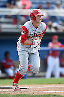 Williamsport Crosscutters first baseman Rhys Hoskins (12) hits a home run during a game against the Batavia Muckdogs on July 27, 2014 at Dwyer Stadium in Batavia, New York.  Batavia defeated Williamsport 6-5.  (Mike Janes/Four Seam Images)