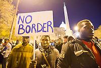 Manifestazione per i diritti dei migranti e contro razzismo e sfruttamento, a Roma, 12 novembre 2016.<br /> Protesters attend a demonstration in support of migrants and against racism and exploitation in Rome, 12 November 2016.<br /> UPDATE IMAGES PRESS/Riccardo De Luca
