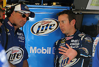 Sept. 26, 2008; Kansas City, KS, USA; Nascar Sprint Cup Series driver Kurt Busch (right) talks with crew chief Pat Tryson during practice for the Camping World RV 400 at Kansas Speedway. Mandatory Credit: Mark J. Rebilas-