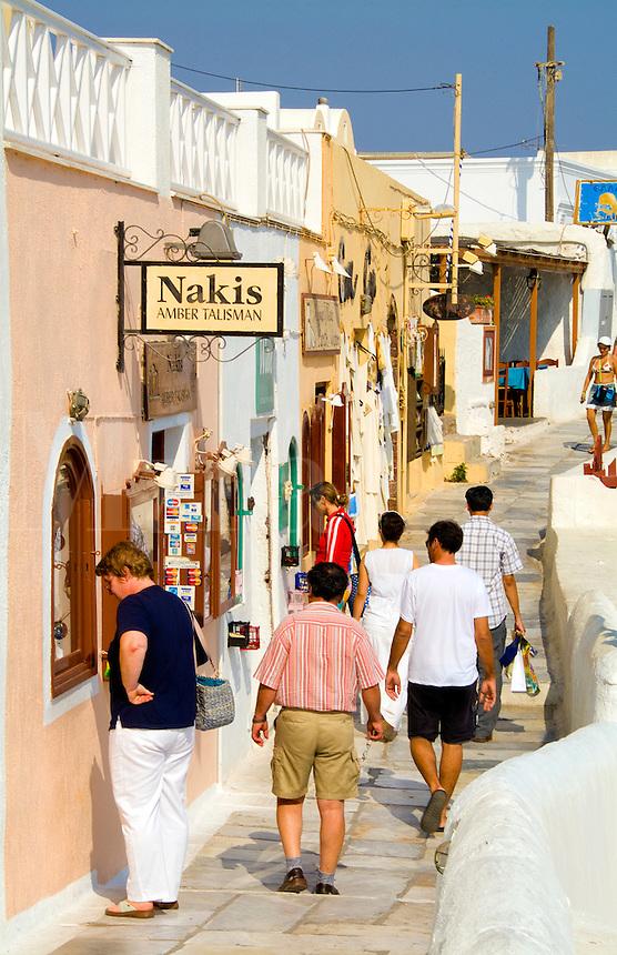 Shoppers on main street, Oia Santorini Greece