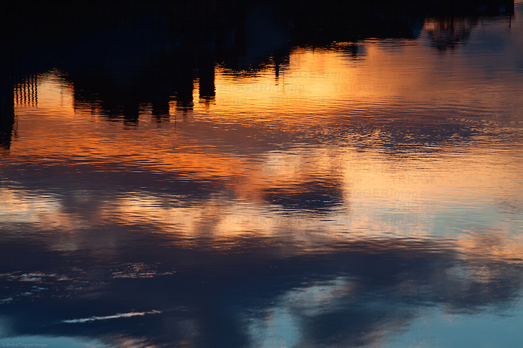 Urban Reflections in the River Aire at Sunset Castleford Yorkshire England