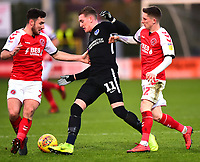Portsmouth's Ronan Curtis competes with Fleetwood Town's Ashley Hunter and Lewis Coyle<br /> <br /> Photographer Richard Martin-Roberts/CameraSport<br /> <br /> The EFL Sky Bet League One - Fleetwood Town v Portsmouth - Saturday 29th December 2018 - Highbury Stadium - Fleetwood<br /> <br /> World Copyright &not;&copy; 2018 CameraSport. All rights reserved. 43 Linden Ave. Countesthorpe. Leicester. England. LE8 5PG - Tel: +44 (0) 116 277 4147 - admin@camerasport.com - www.camerasport.com