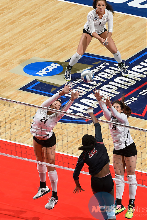 COLUMBUS, OH - DECEMBER 17:  Yaazie Bedart-Ghani (27) and Paulina Prieto Cerame (19) of the University of Texas attempts a block against Stanford University during the Division I Women's Volleyball Championship held at Nationwide Arena on December 17, 2016 in Columbus, Ohio.  Stanford defeated Texas 3-1 to win the national title. (Photo by Jamie Schwaberow/NCAA Photos via Getty Images)