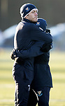 St Johnstone Training&hellip;.14.12.18    McDiarmid Park<br />Murray Davidson gives Danny Swanson a hug during training this morning ahead of tomorrows game against Motherwell<br />Picture by Graeme Hart.<br />Copyright Perthshire Picture Agency<br />Tel: 01738 623350  Mobile: 07990 594431