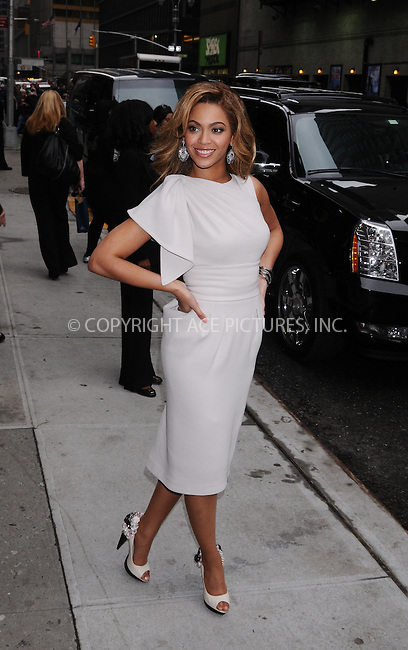 WWW.ACEPIXS.COM . . . . . ....April 22 2009, New York City....Singer and actress Beyonce Knowles made an appearance at the 'Late Show With David Letterman' at the Ed Sullivan Theater on April 22, 2009 in New York City....Please byline: AJ SOKALNER- ACEPIXS.COM.. . . . . . ..Ace Pictures, Inc:  ..tel: (212) 243 8787 or (646) 769 0430..e-mail: info@acepixs.com..web: http://www.acepixs.com
