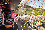 Race leader Maglia Rosa Tom Dumoulin (NED) Team Sunweb wins Stage 14 of the 100th edition of the Giro d'Italia 2017, running 131km from Castellania to Oropa, Italy. 20th May 2017.<br /> Picture: LaPresse/Massimo Paolone | Cyclefile<br /> <br /> <br /> All photos usage must carry mandatory copyright credit (&copy; Cyclefile | LaPresse/Massimo Paolone)