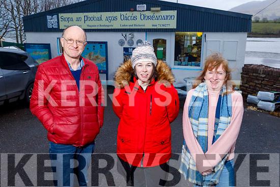 Gearóid Ó Cathasaigh, Caitríona Ní Churráin and Gina Overy standing outside Siopa an Phobail in Cloghan Brandon on Tuesday