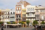 Shops and housing in historic buildings, Plaza de San Francisco, Seville, Spain