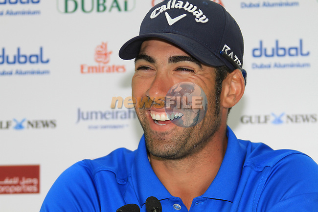 Alvaro Quiros (ESP) winner of the Omega Dubai Desert Classic 2011 on the Majlis Course, Emirates Golf Club, Dubai, UAE. 13/02/2011Speaking after the prize giving to reporters about his final round..Picture Fran Caffrey/www.golffile.ie.