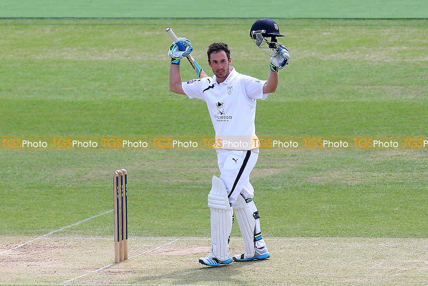 Will Smith of Hampshire celebrates his century, 100 runs for his team - Hampshire CCC vs Essex CCC - LV County Championship Division Two Cricket at the Ageas Bowl, West End, Southampton - 17/06/14 - MANDATORY CREDIT: Gavin Ellis/TGSPHOTO - Self billing applies where appropriate - 0845 094 6026 - contact@tgsphoto.co.uk - NO UNPAID USE