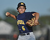 Christian DeNave #6, Massapequa pitcher, makes an relief appearance during a Nassau County varsity baseball game against host Farmingdale High School on Tuesday, May 2, 2017. Massapequa won by a score of 10-1.
