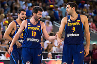 Spain's basketball player Alberto Abalde, Fernando San Emeterio and Felipe Reyes during the  match of the preparation for the Rio Olympic Game at Madrid Arena. July 23, 2016. (ALTERPHOTOS/BorjaB.Hojas) /NORTEPHOTO.COM