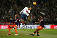 Lucas of Tottenham Hotspur wins a ball in the air during Tottenham Hotspur vs Manchester City, Premier League Football at Wembley Stadium on 29th October 2018