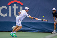 Washington, DC - August 3, 2019:  John Peers (AUS) reaches for the ball during the  Men Doubles semi finals at William H.G. FitzGerald Tennis Center in Washington, DC  August 3, 2019.  (Photo by Elliott Brown/Media Images International)