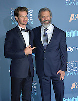 Andrew Garfield &amp; Mel Gibson at the 22nd Annual Critics' Choice Awards at Barker Hangar, Santa Monica Airport. <br /> December 11, 2016<br /> Picture: Paul Smith/Featureflash/SilverHub 0208 004 5359/ 07711 972644 Editors@silverhubmedia.com