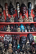 Local Nepalese artifacts are put on display at a street vendor's stall in Thamel in capital Kathmandu, Nepal