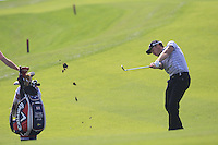 Danny Willett (ENG) plays his 2nd shot on the 9th hole during Sunday's Final Round of the 2014 BMW Masters held at Lake Malaren, Shanghai, China. 2nd November 2014.<br /> Picture: Eoin Clarke www.golffile.ie
