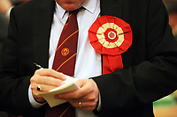 Pictured: A Labour party representative takes notes of the counting of the ballots. Friday 09 June 2017<br />Re: Counting of ballots at Brangwyn Hall for the general election in Swansea, Wales, UK