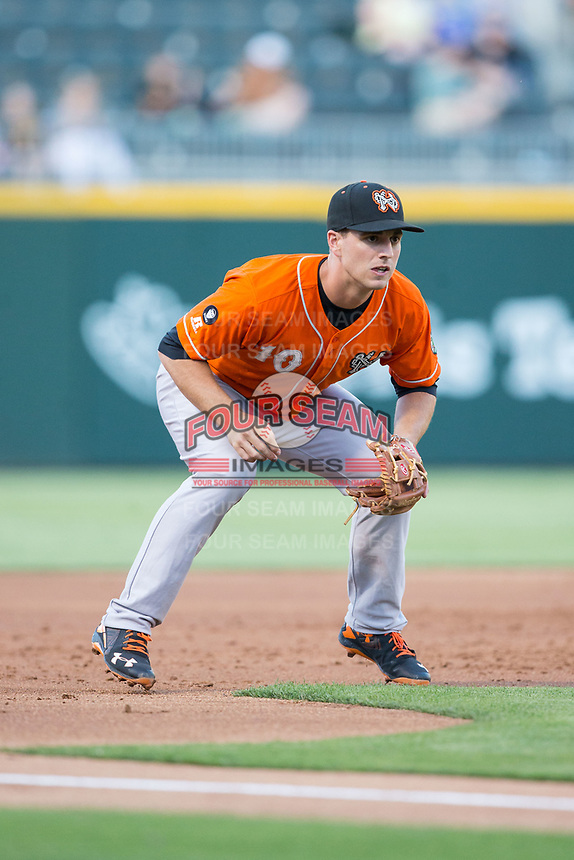 Norfolk Tides third baseman Drew Dosch (10) on defense against the Charlotte Knights at BB&T BallPark on May 2, 2017 in Charlotte, North Carolina.  The Knights defeated the Tides 8-3.  (Brian Westerholt/Four Seam Images)