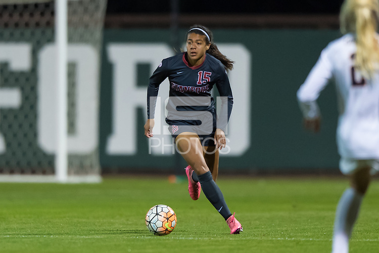 STANFORD, CA - November 6, 2015: Alana Cook during the Stanford vs Cal women's soccer match in Stanford, California.  The Cardinal tied the Bears 1-1 in double overtime.