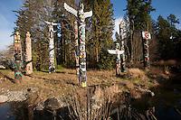 Olympiastadt Vancouver 2010..Totem Poles im  Stanley Park