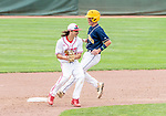 MIDDLETOWN, CT. 06 June 2018-060618BS579 - Wolcott's Nicholas Trager (22) gets the force out at second and tries to turn a double play during the CIAC Tournament Class M Semi-Final baseball game between Ledyard and Wolcott at Palmer Field on Wednesday afternoon. Wolcott beat Ledyard 9-4 and advances to the Class M final this weekend. Bill Shettle Republican-American