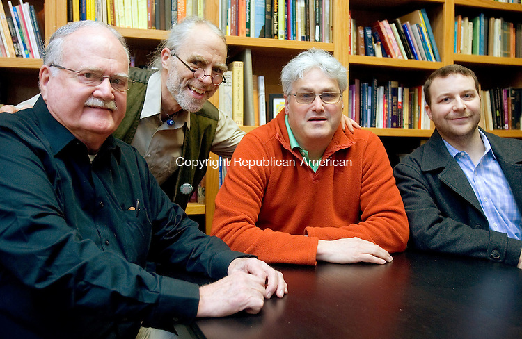 WATERBURY CT. 17 March 2015-031715SV12-From left, Sandy Rhoades of Falls Village, CJ May of New Haven, Richard Von Culin of Middlebury, and Matt Sedlak of Waterbury meet at John Bale Bookstore in Waterbury Tuesday. They are all magicians that meet regularly. <br /> Steven Valenti Republican-American