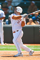 Texas Longhorn catcher Cameron Rupp (3) homerun against Nebraska on Sunday March 21st, 2100 at UFCU Dish-Falk Field in Austin, Texas.  (Photo by Andrew Woolley / Four Seam Images)