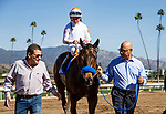 ARCADIA, CA - FEBRUARY 04: Dream Tree #3 with Drayden Van Dyke enters the winners circle after the Las Virgines Stakes at Santa Anita Park on February 4, 2018 in Arcadia, California. (Photo by Alex Evers/Eclipse Sportswire/Getty Images)